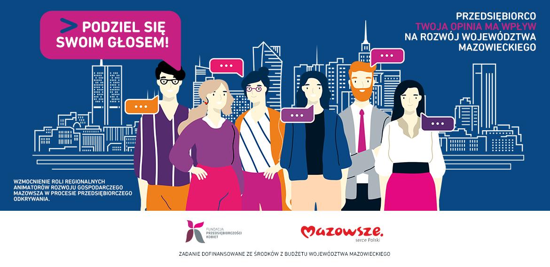 """Baner projektu - osoby na tle miasta - hasło """"Przedsiębiorco toja opinia ma wpływ na rozój województwa mazowieckiego"""